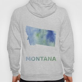 Montana map outline Blue green blurred watercolor Hoody