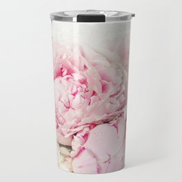 Peonies on white Travel Mug