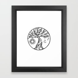 black and white tree of life with hanging sun, moon and stars I Framed Art Print