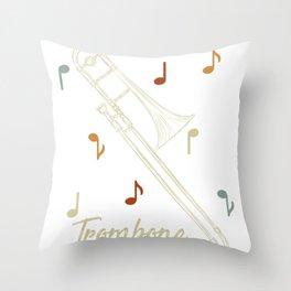 Music Trombone Throw Pillow