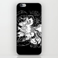 lovecraft iPhone & iPod Skins featuring Poe vs. Lovecraft by The Cracked Dispensary