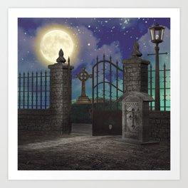 Graveyard #5 * cemetary scary spooky tombstone creepy Art Print