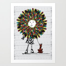 Flowerhead girl.  Art Print