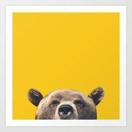 Bear - Yellow Art Print