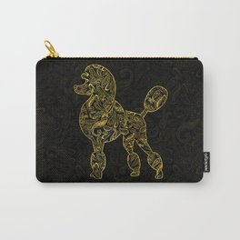 Poodle Dog in  Gold Paisley pattern Carry-All Pouch