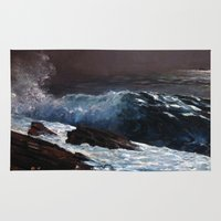 homer Area & Throw Rugs featuring Winslow Homer - Sunlight on the Coast by ArtMasters