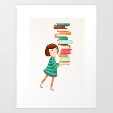 Library Girl 3 Art Print
