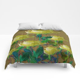 ARTISTIC YELLOW ROSE HARMONICS DRAWING Comforters
