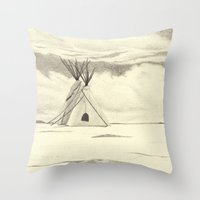 plain Throw Pillows featuring Lonely Plain by Ursula Rodgers