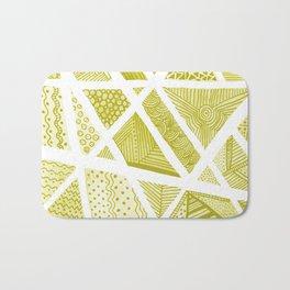 Geometric doodle pattern - yellow and white Bath Mat
