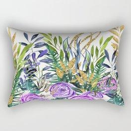 Gold Glitter Purple Garden Rectangular Pillow