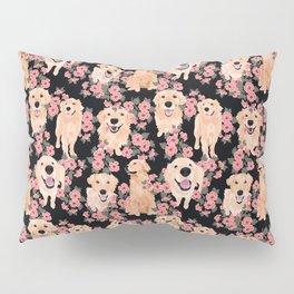 Golden Retrievers and flowers on Black Pillow Sham