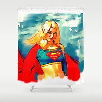 supergirl Shower Curtains featuring Supergirl Patriot by OverseerN