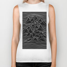Black and white illustration - sound wave graphic Biker Tank