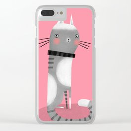CATS ON PINK Clear iPhone Case