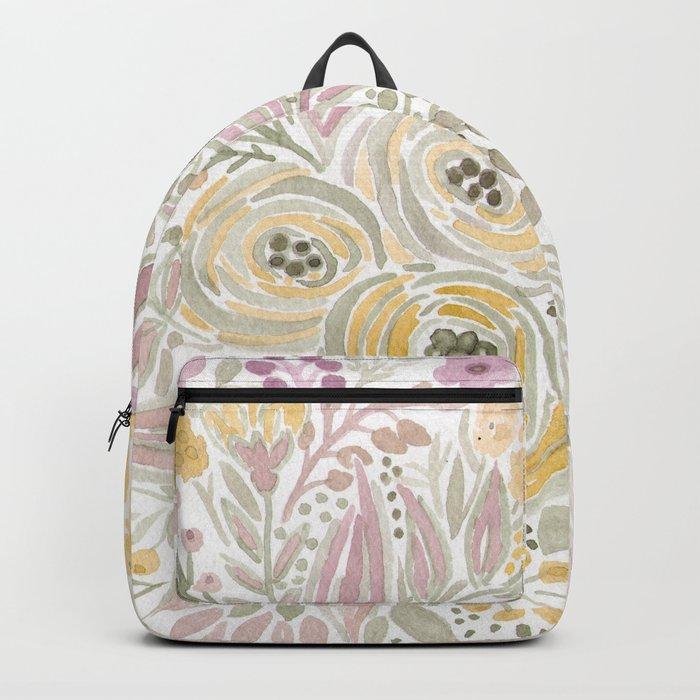 Watercolor . Flower meadow . 1 Backpack