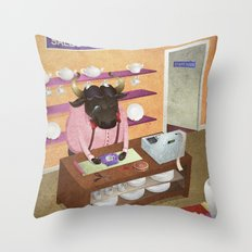 A-Z Animal, Bull Sales Person - Illustration Throw Pillow