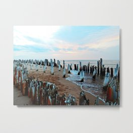 Wharf Remains on the Beach Metal Print