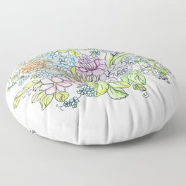 arrangement of flowers in pastel shades on a white background . illustration Floor Pillow