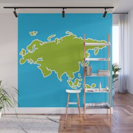 Eurasia map green continent  on blue background Wall Mural