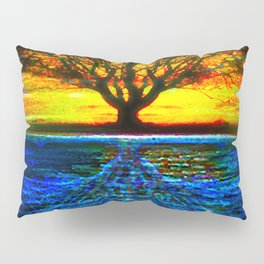 Duality Tree of Life Reflection Moon & Sun Day & Night Painting by CAP Pillow Sham