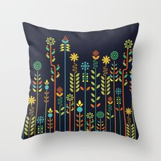Overgrown flowers Throw Pillow