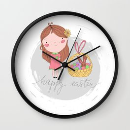 Happy Easter Girl with a Basket Art Wall Clock