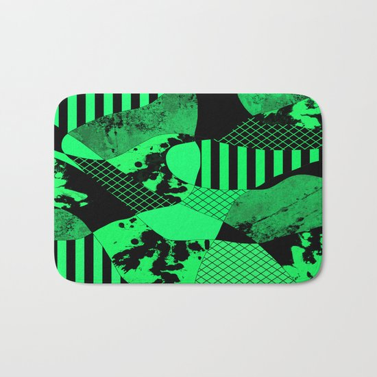 Black And Teal - Abstract, geometric, multi patterned artwork Bath Mat