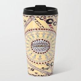 """""""Pillow Talk"""" Zentangle Art desgned for Floor Pillows (Browns)-center3 Travel Mug"""