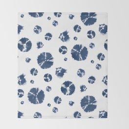 Shibori Polka Splotch Indigo Blue Throw Blanket