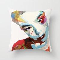 bjork Throw Pillows featuring Bjork by Zaneta Antosik
