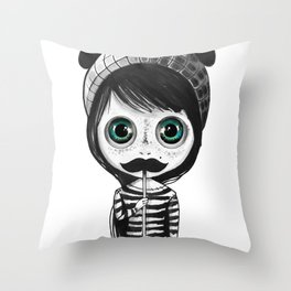 cute mustache Throw Pillow