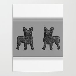 Black and White French Bulldog Twins Poster