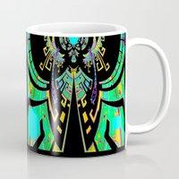 malachite Mugs featuring Aztec Malachite Dragon Calender by SharlesArt