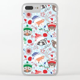 Christmas animal smiles Clear iPhone Case