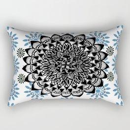 Black Hand-Drawn Mandala on Digital Mandala Textile Rectangular Pillow