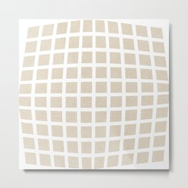 Linen Cream Checked Pattern Metal Print