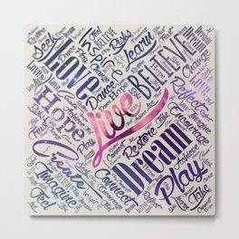 Inspirational Motivational Word Cloud Art Metal Print