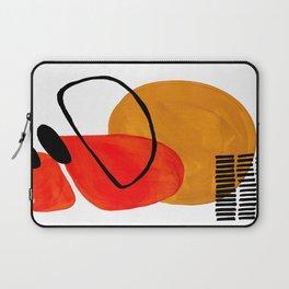 Mid Century Modern Abstract Vintage Pop Art Space Age Pattern Orange Yellow Black Orbit Accent Laptop Sleeve