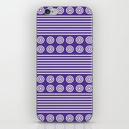 Purple and White Horizontal Stripes and Circles - Purple Series iPhone Skin