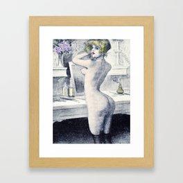 Hand colored Nude Boudoir Blond Blue Eyes Black Stockings Red Lips Framed Art Print