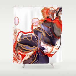 Alcohol ink - abstract art black and red Shower Curtain