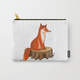 Silly Cute Fox, foxy, illustration, watercolor, wood, adorable, children, kid, decoratin Carry-All Pouch