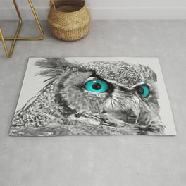 Black and White Great Horned Owl w Aqua Eyes A174 Rug