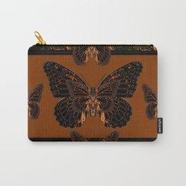 BLACK  MONARCH BUTTERFLIES,COFFEE BROWN-BURGUNDY ART Carry-All Pouch