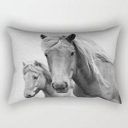 Horses - Black & White Rectangular Pillow