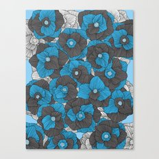 In Bloom (blue & grey) Canvas Print