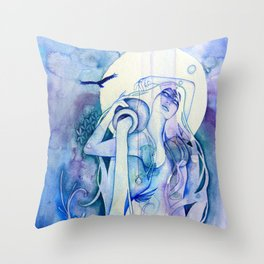 Goddess of Aquarius - An Air Elemental Throw Pillow