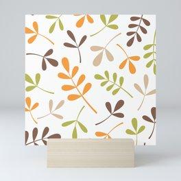 Assorted Leaf Silhouettes Retro Colors Mini Art Print