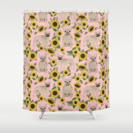 French Bulldog sunflowers sunflower floral dog breed dog pattern pet friendly pet portrait Shower Curtain